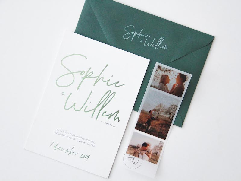 Trouwuitnodiging Sophie&Willem